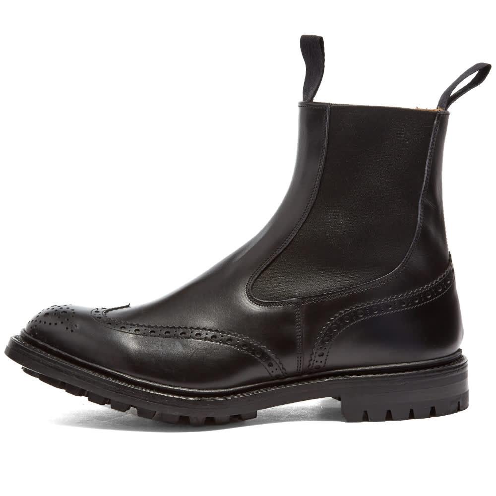 Tricker's Henry Brogue Chelsea Boot - Black Calf