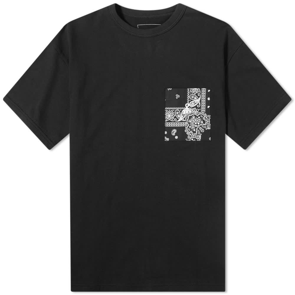 SOPHNET. Fabric Mix Pocket Tee - Black