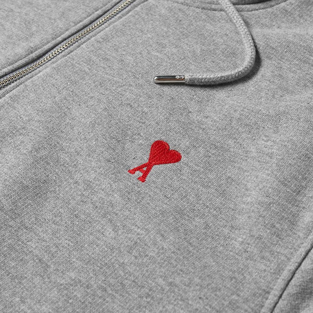 AMI Heart Drawstring Quarter Zip - Heather Grey