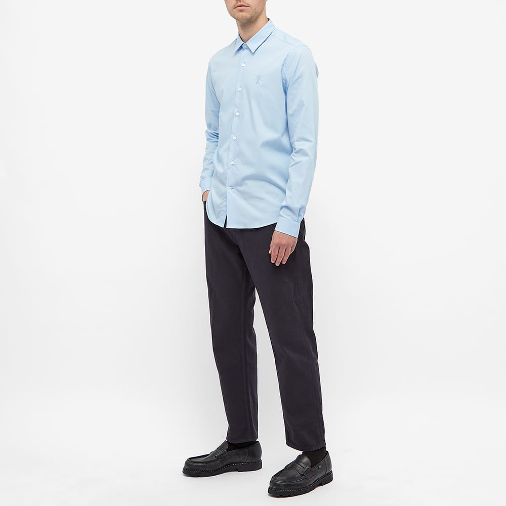 AMI Tonal Logo Oxford Shirt - Sky Blue