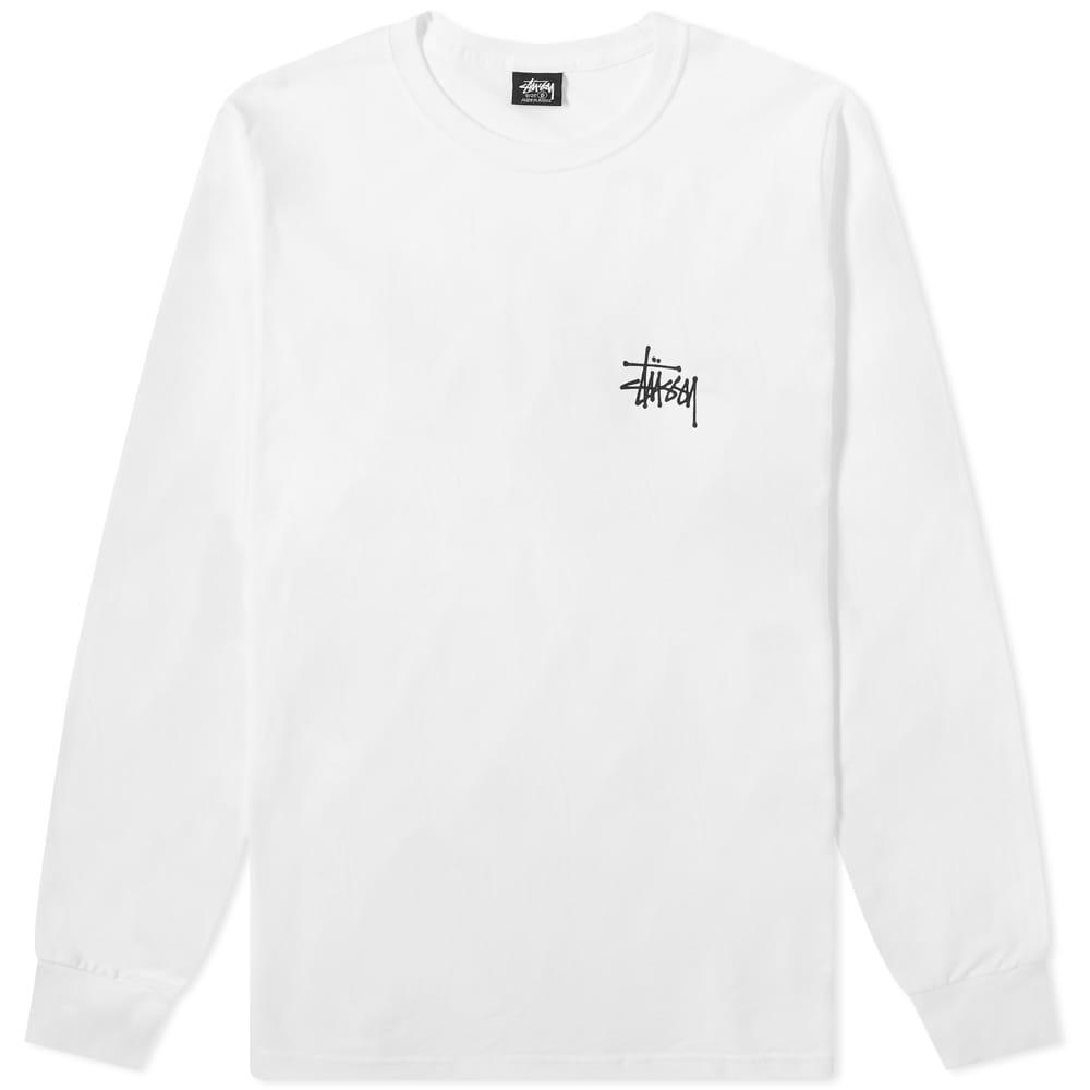 Stussy Long Sleeve Basic Stussy Tee - White