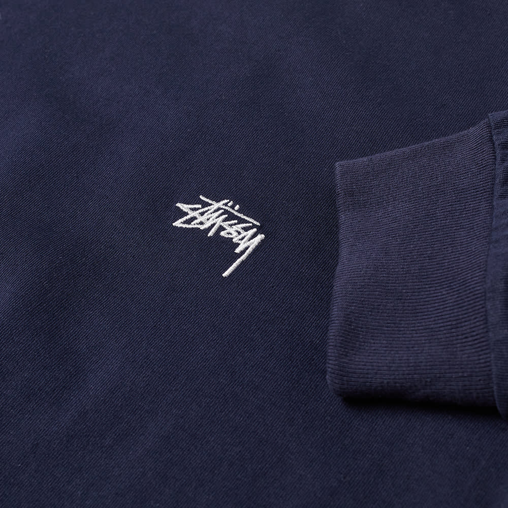 Stussy Long Sleeve Stock Logo Tee - Navy