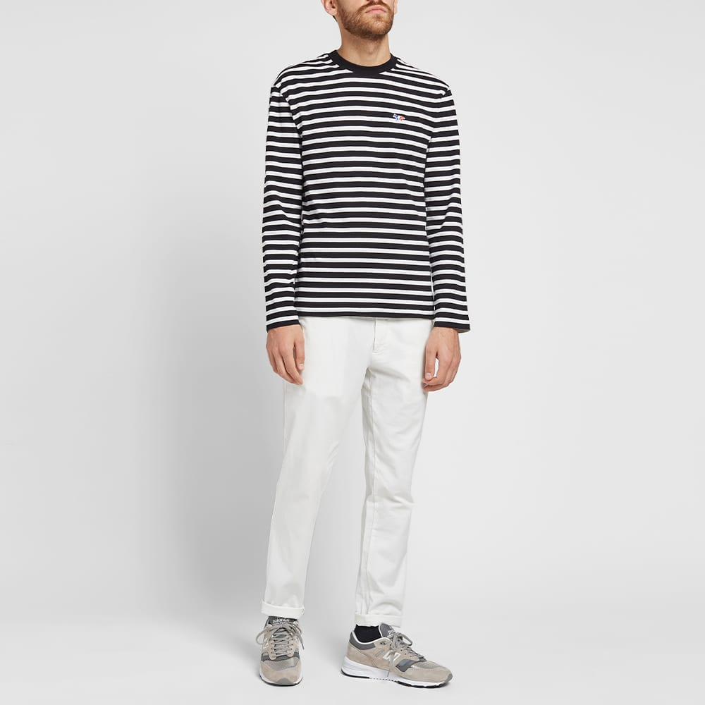 Maison Kitsuné Long Sleeve Tricolour Fox Stripe Tee - Black & White