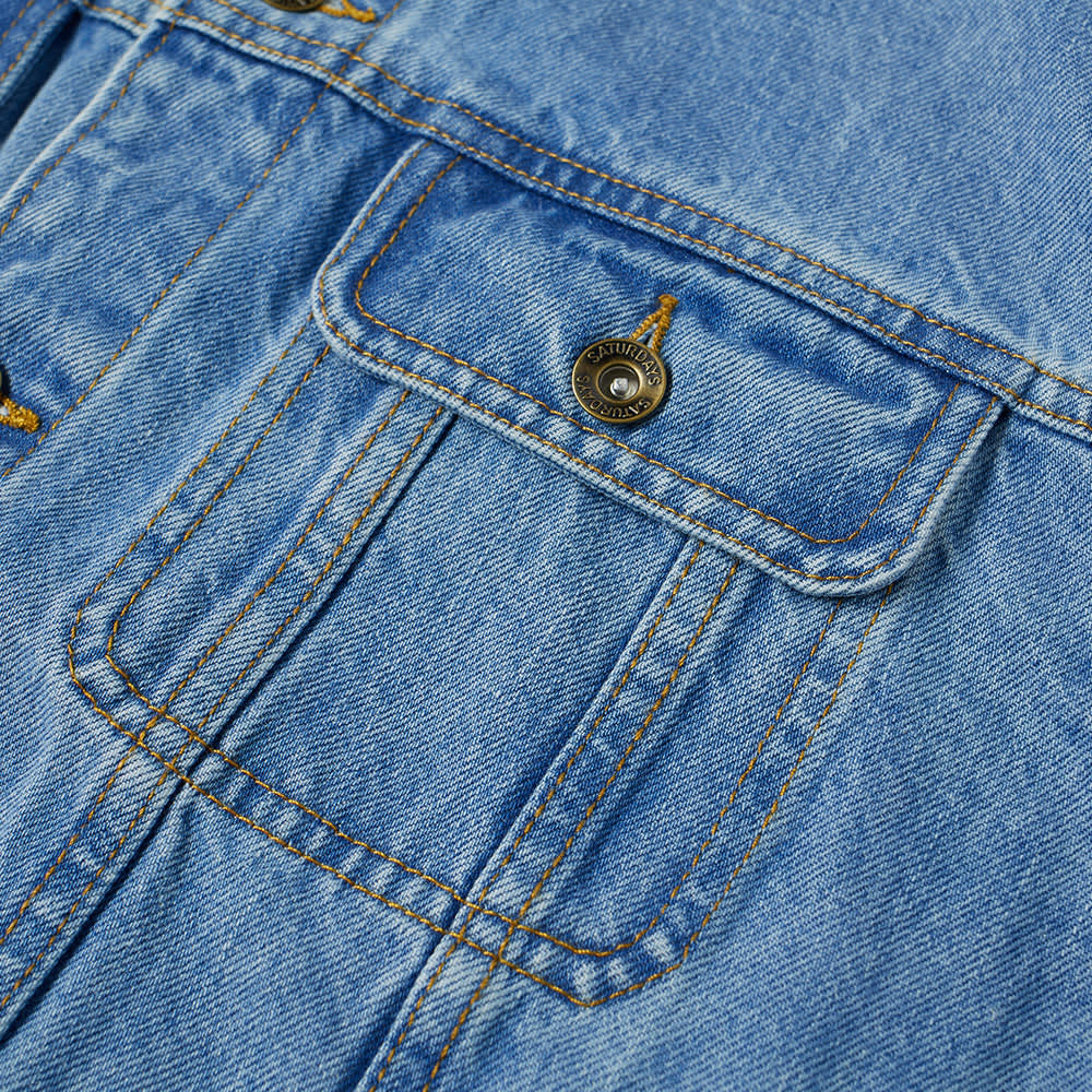 Saturdays NYC Emil Leather Collar Denim Jacket - Stone Washed Indigo