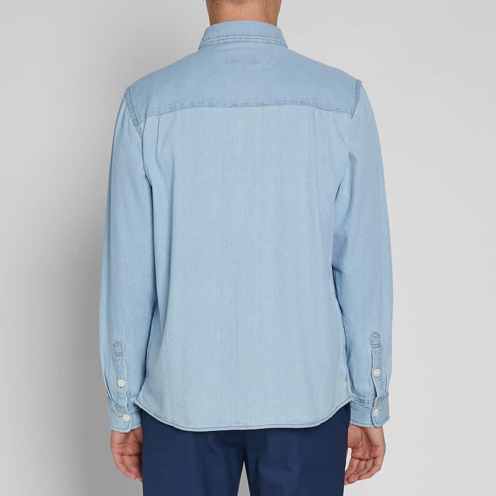 Saturdays NYC Nolan Washed Denim Overshirt - Bleach Washed Indigo