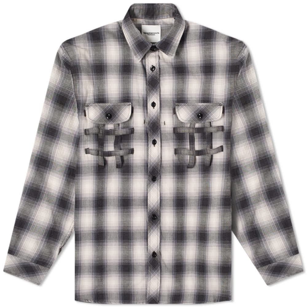 TAKAHIROMIYASHITA TheSoloist. Side Back Zip Check Work Shirt - Black