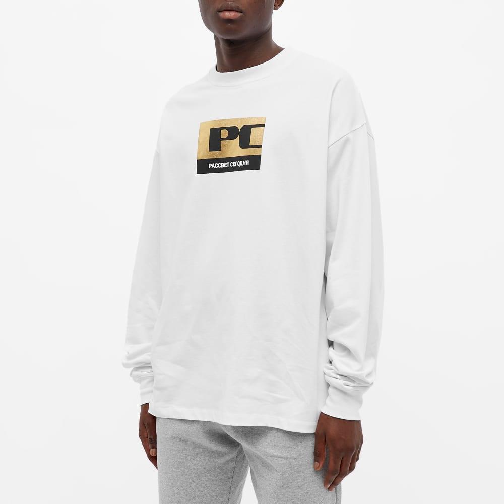 PACCBET Long Sleeve Metallic Box Logo Tee - White