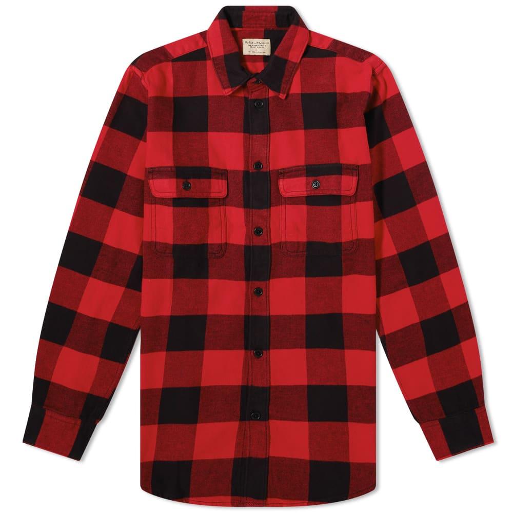 Nudie Gabriel Buffalo Check Overshirt - Poppy Red