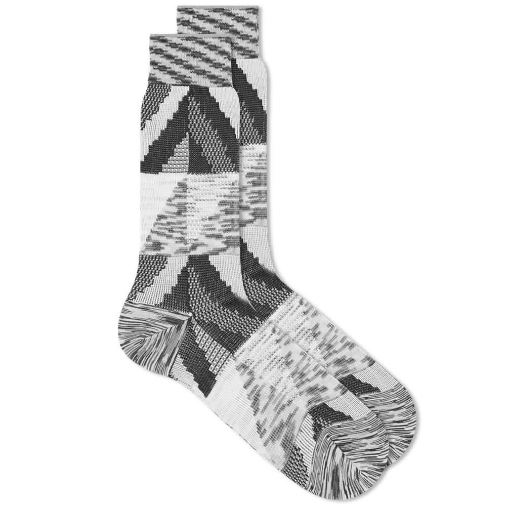 Ayame C53 Marble Yarn Sock - Black & White