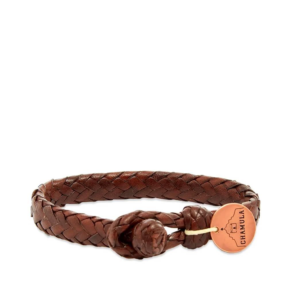 Chamula Wide Flat Weaved Bracelet - Brown