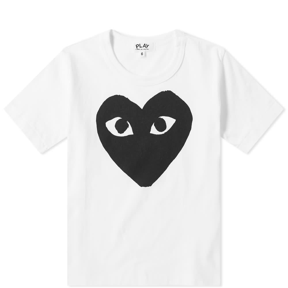 Comme des Garcons Play Kids Black Heart Logo Tee - White & Black