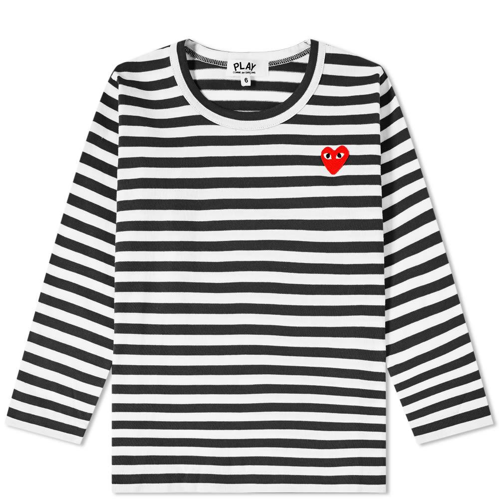 Comme des Garcons Play Kids Long Sleeve Stripe Tee - Black & White
