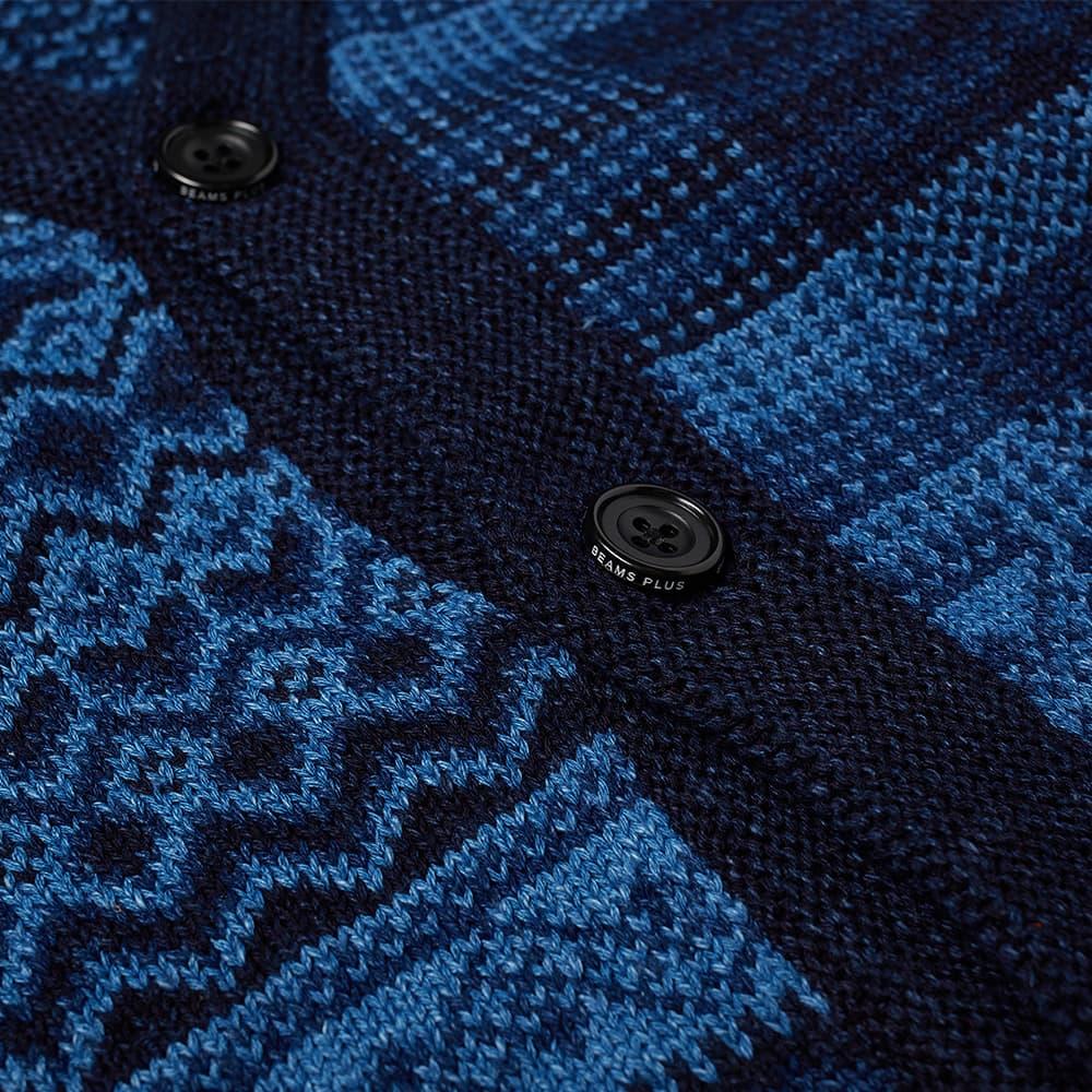 Beams Plus Indigo Knit Cardigan Patchwork-Like Cardigan - Indigo