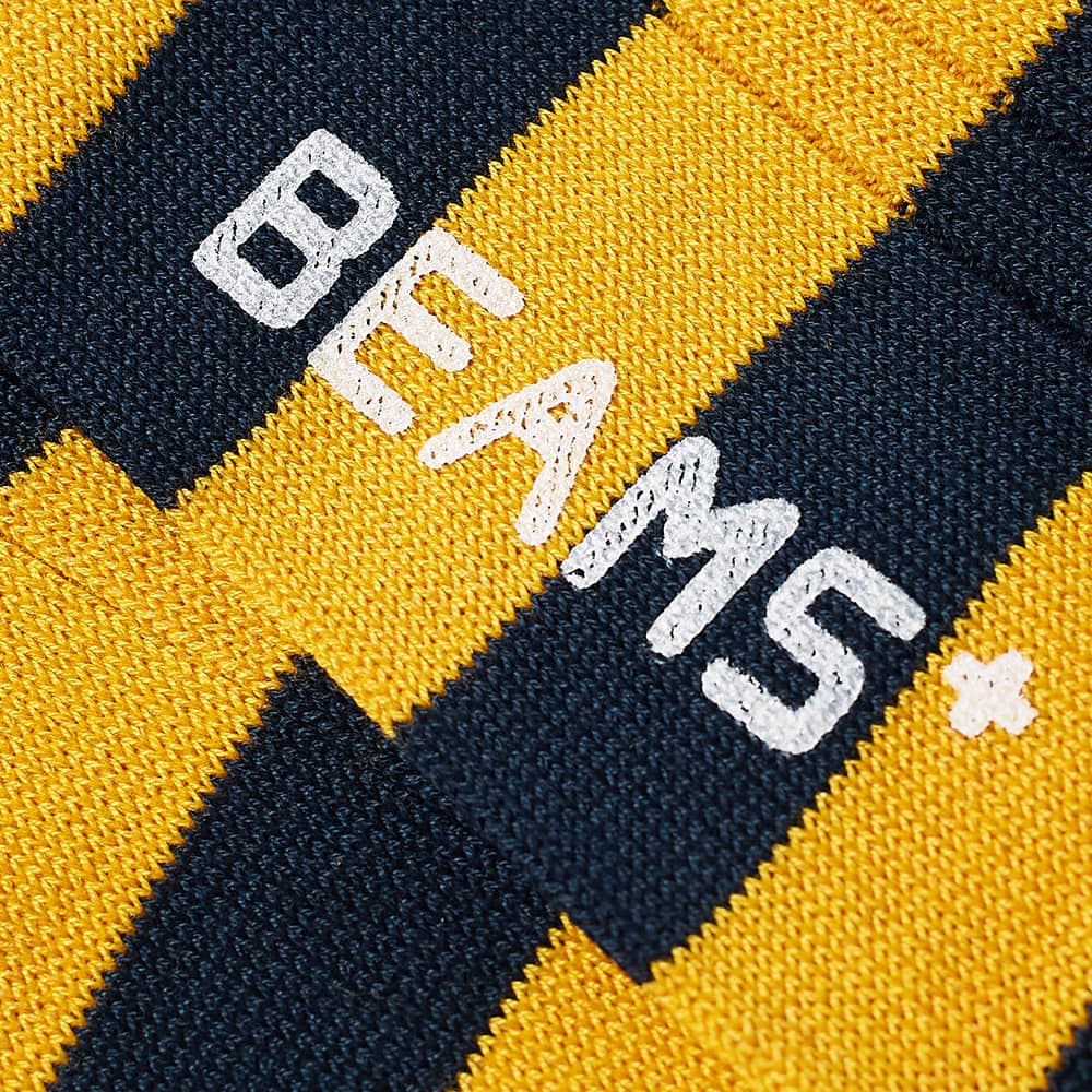 Beams Plus Rib Stripe Sock - Navy & Mary Gold