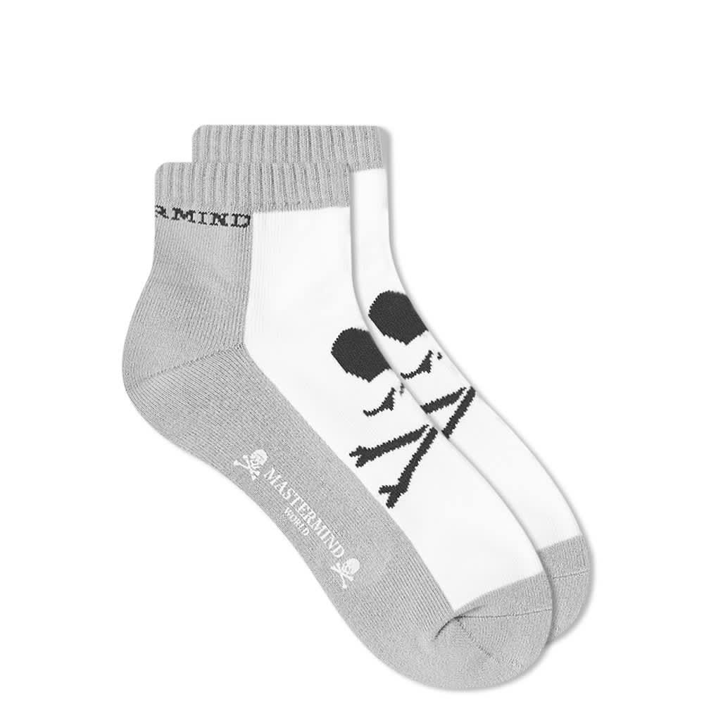 MASTERMIND WORLD 2 Colour Sock - White & Top Grey