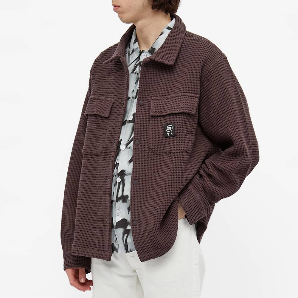Brain Dead Waffle Snap Front Overshirt - Brown