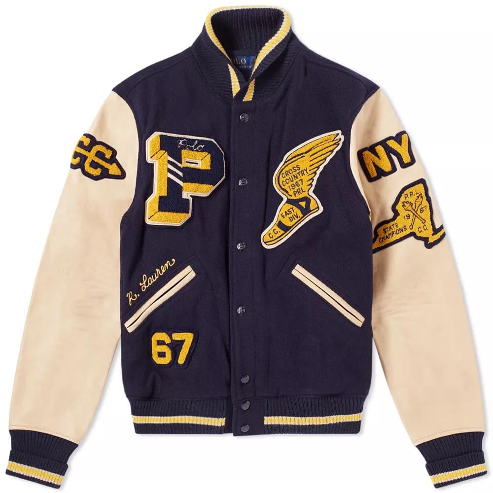 Polo Ralph Lauren Letterman Jacket Collection Navy   END.