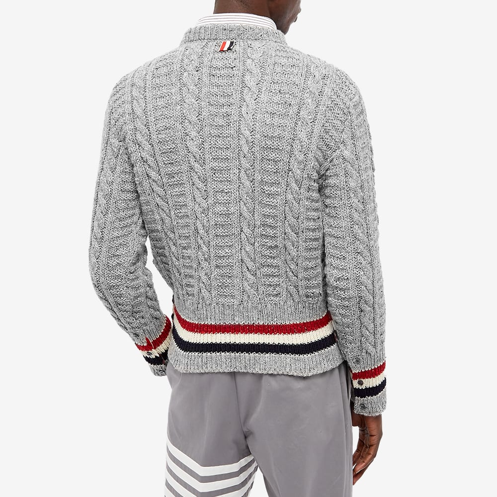 Thom Browne Cable Donegal Crew Knit - Light Grey