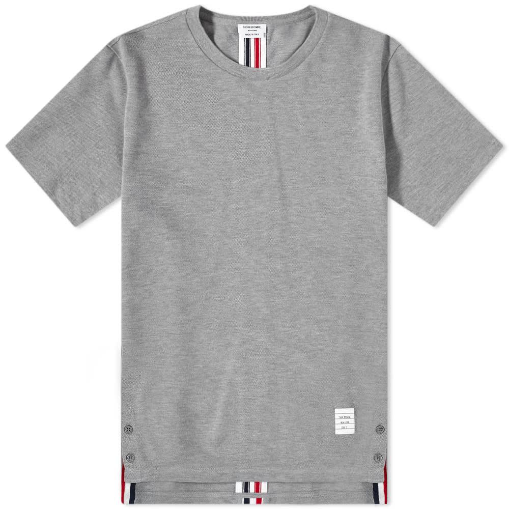 Thom Browne Back Stripe Pique Tee - Light Grey
