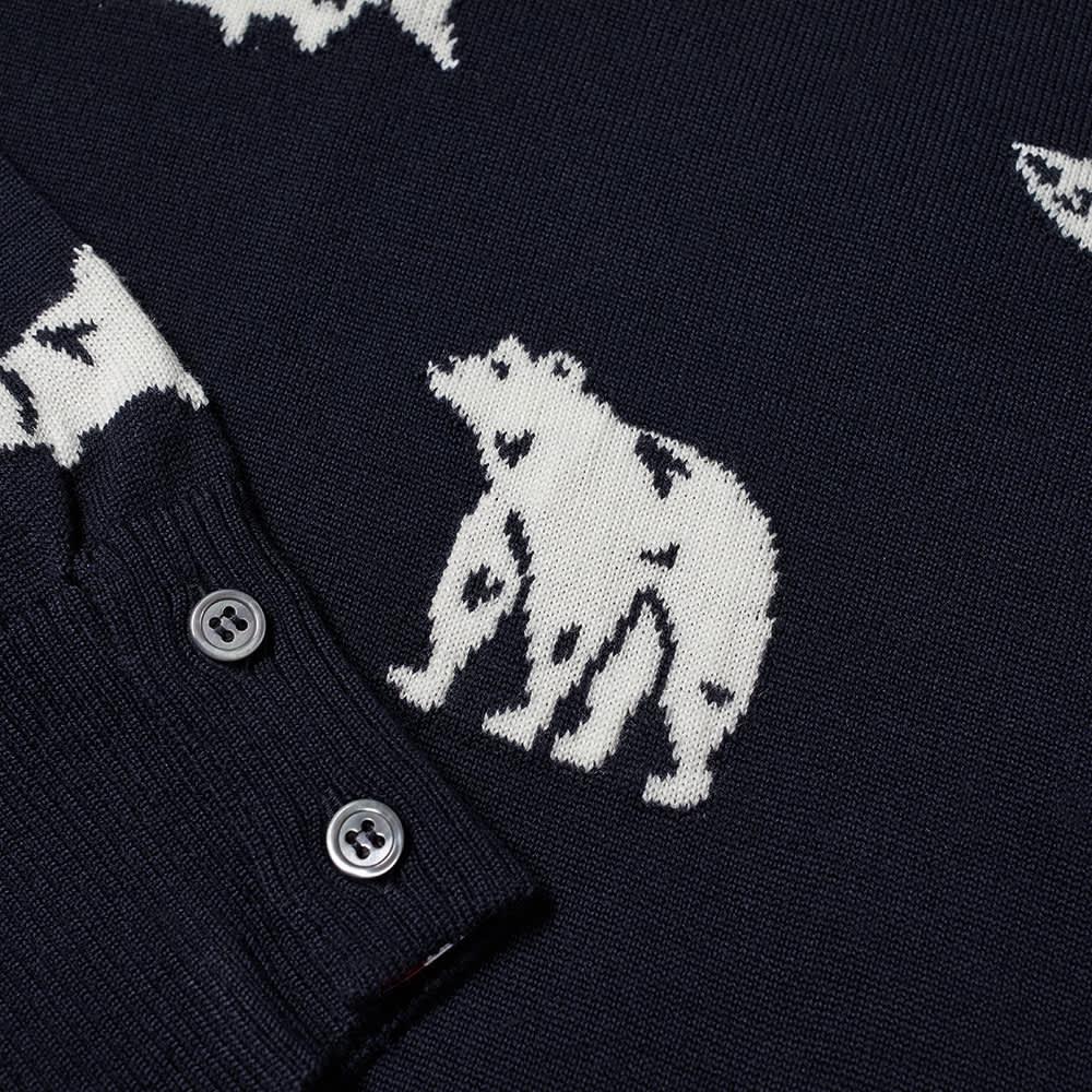 Thom Browne Bear & Salmon Intarsia Crew Knit - Navy