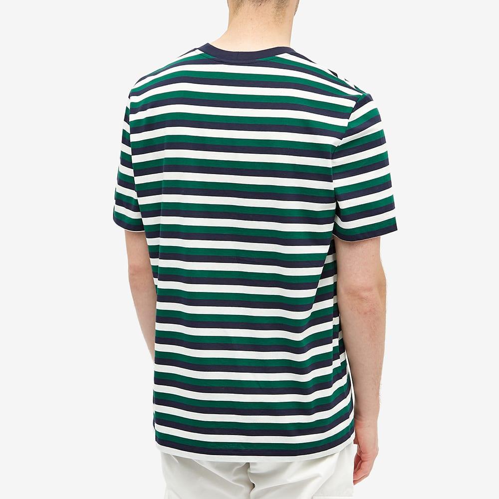 Helmut Lang Striped Logo Tee - Patrol Navy & White & Green
