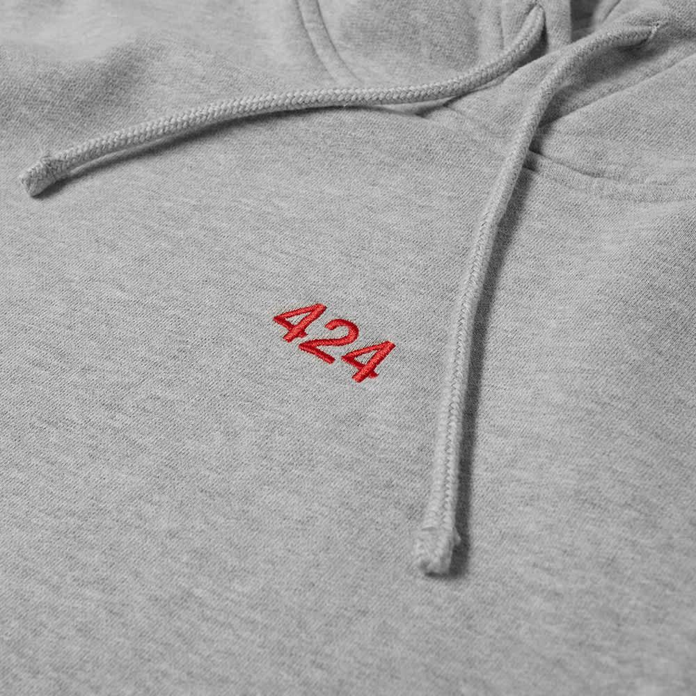 424 Alias Red Logo Popover Hoody - Grey