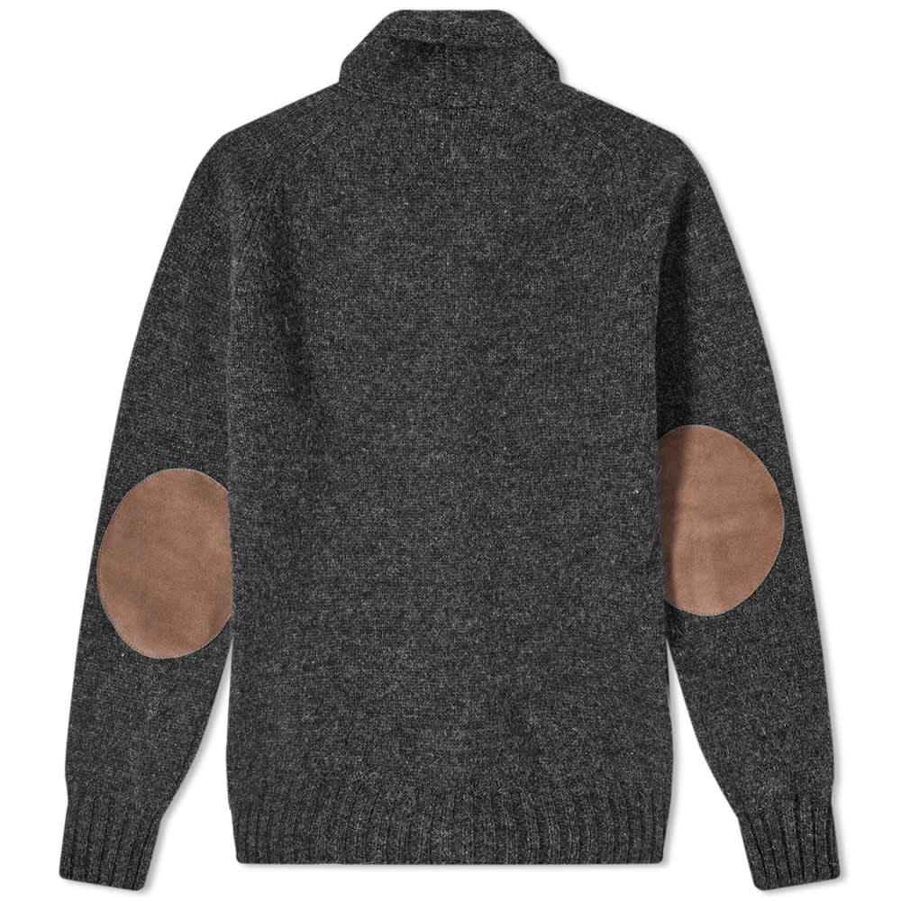 Jamieson's of Shetland Elbow Patch Shawl Collar Cardigan - Charcoal