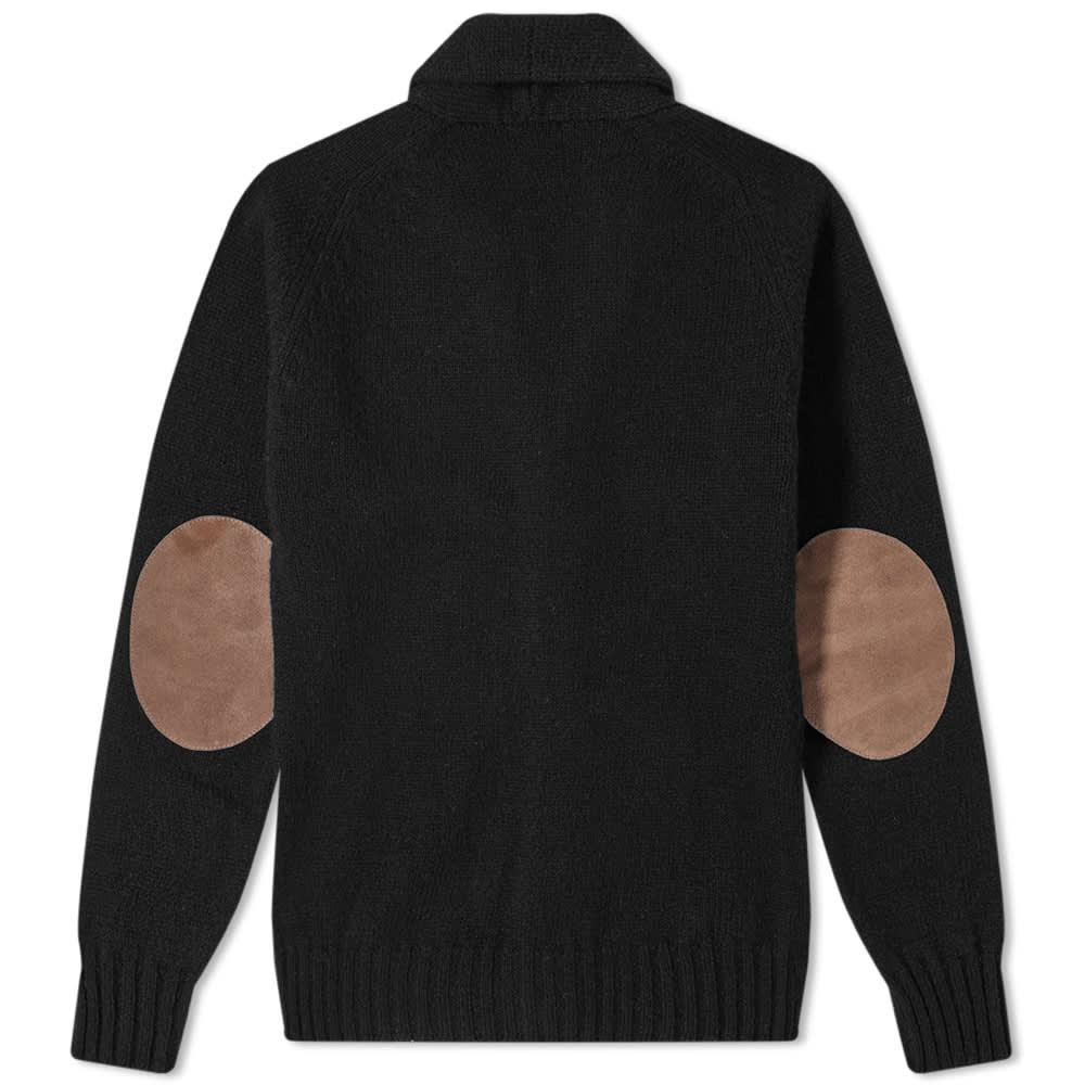 Jamieson's of Shetland Elbow Patch Shawl Collar Cardigan - Black