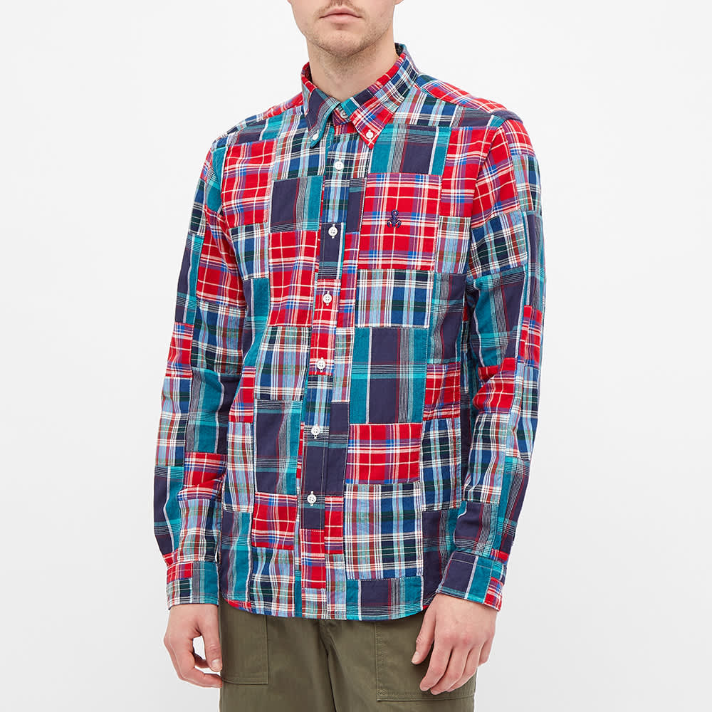 SOPHNET. Patch Work Madras Check Shirt - Red