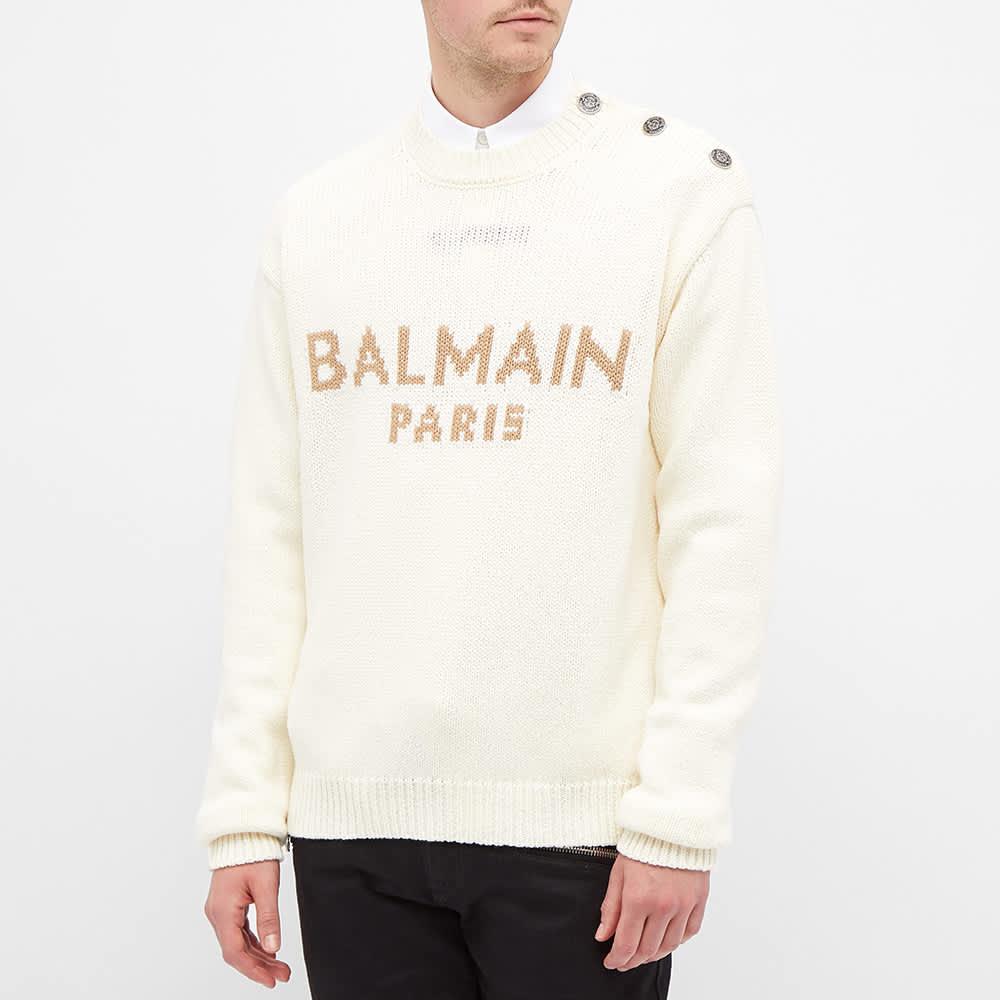 Balmain Oversized Logo Crew Knit - Ecru & Beige