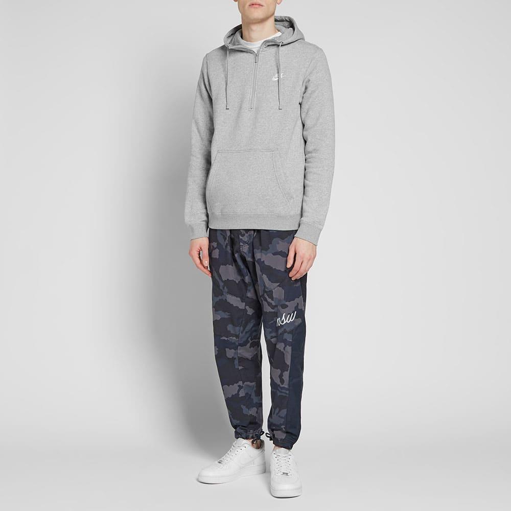 Nike Half Zip Club Hoody - Dark Grey Heather & White