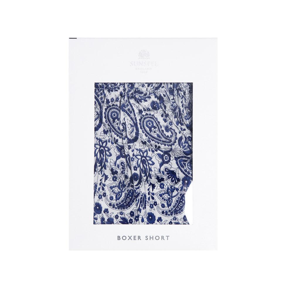 Sunspel Classic Boxer Short - Blue Paisley Print