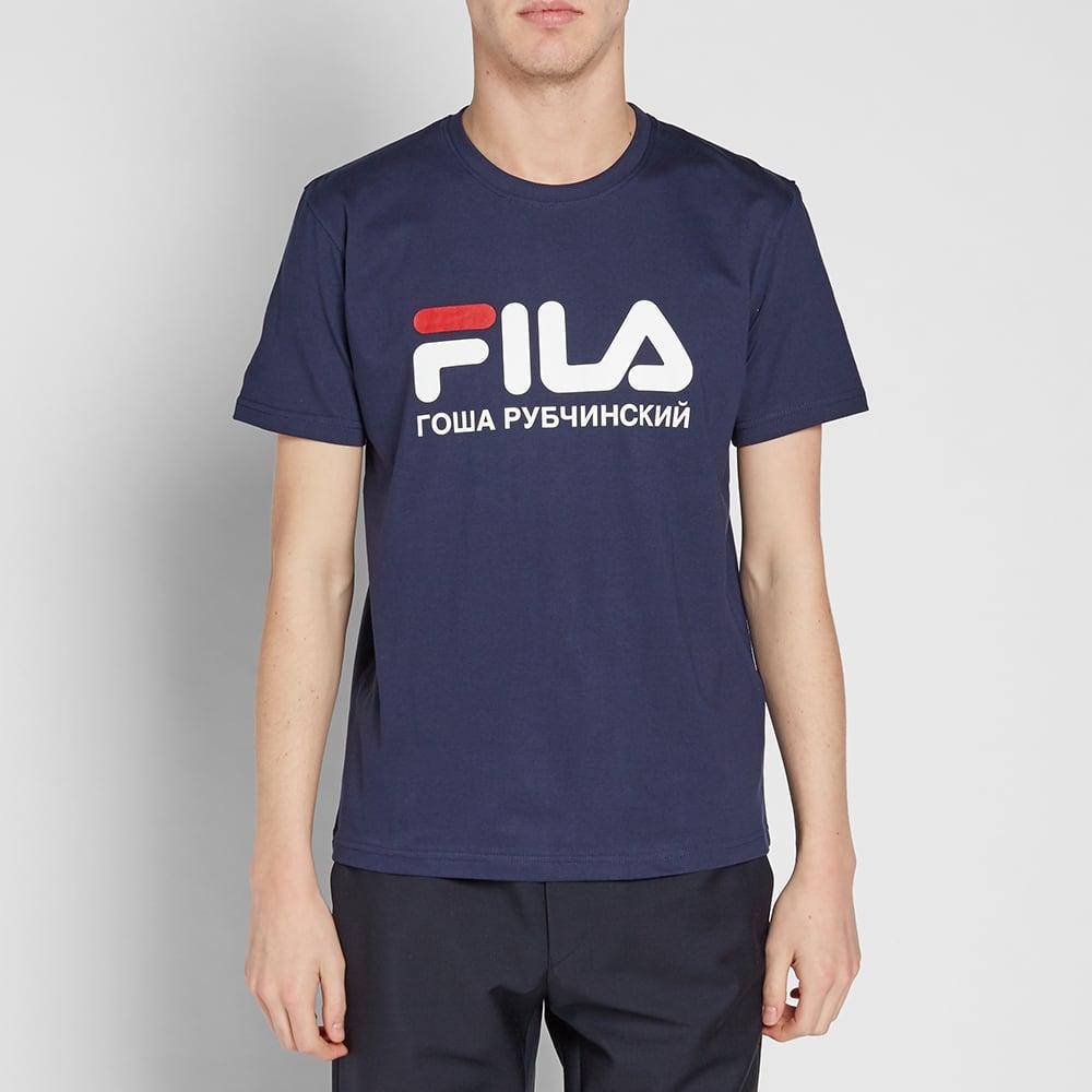 Gosha Rubchinskiy x FILA Logo Tee - Navy
