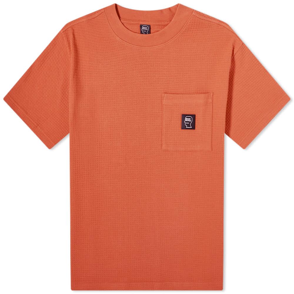 Brain Dead Waffle Knit Mockneck Tee - Orange
