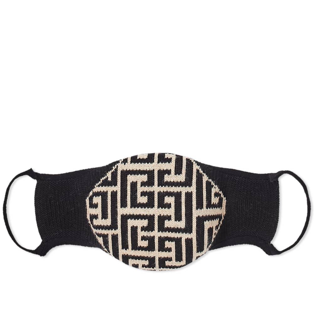 Balmain Knitted Monogram Mask - Black & Ivory