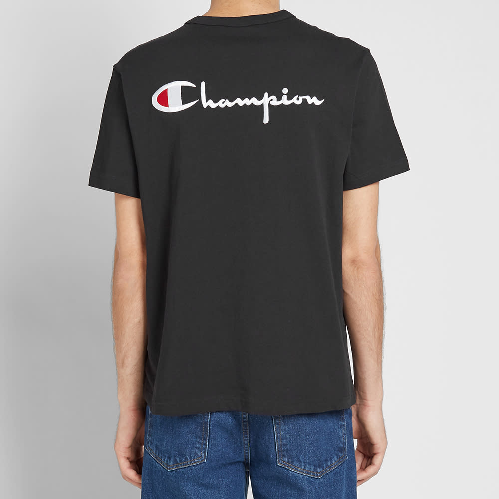 Champion Reverse Weave Rear Script Logo Tee - Black