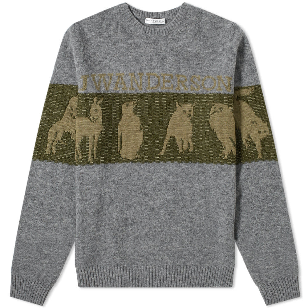JW Anderson Animal Logo Intarsia Crew Knit - Fossil