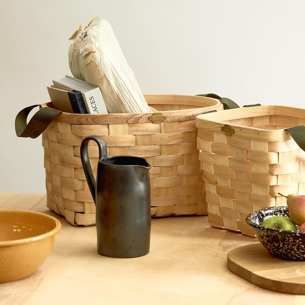 Puebco Woven Wooden Basket - Set Of 2 - Natural
