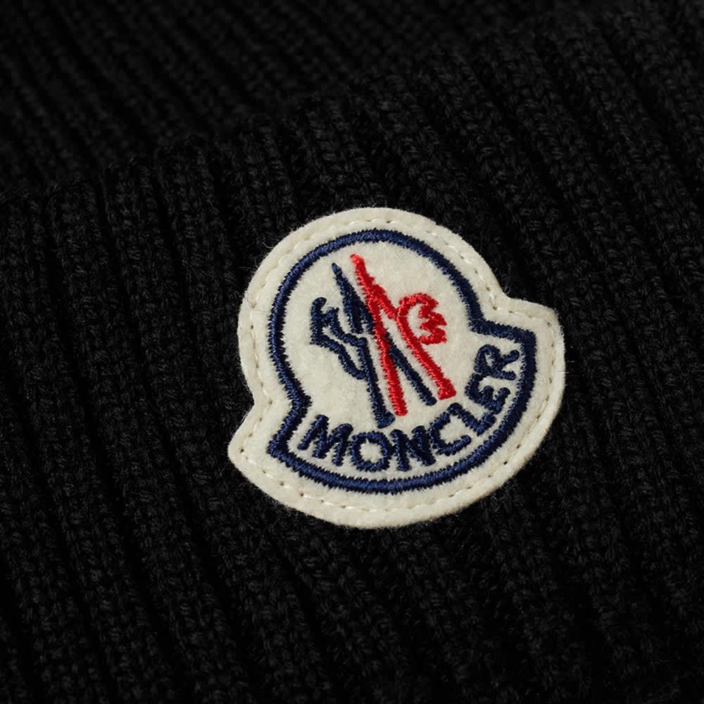 Moncler Chunky Rib Logo Beanie - Black