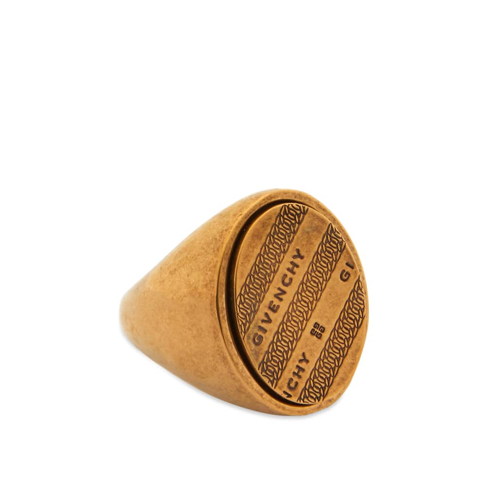 Givenchy Chain Signet Ring - Antique Gold