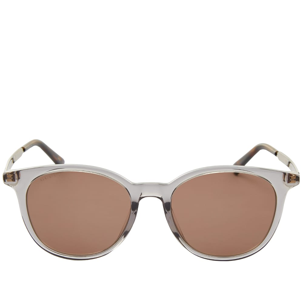 Gucci Round-Frame Acetate And Metal Sunglasses - Grey & Brown