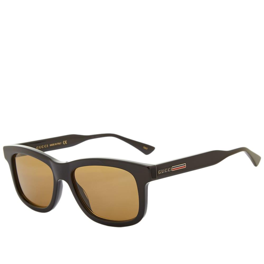 Gucci Rectangular Frame Acetate Sunglasses - Blacl & Brown