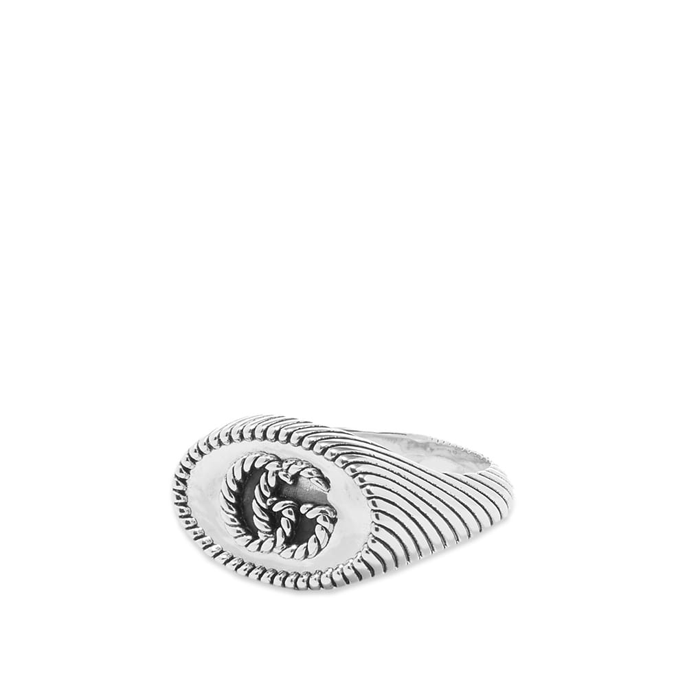 Gucci Chevron Marmont 12mm Ring - Aged Sterling Silver