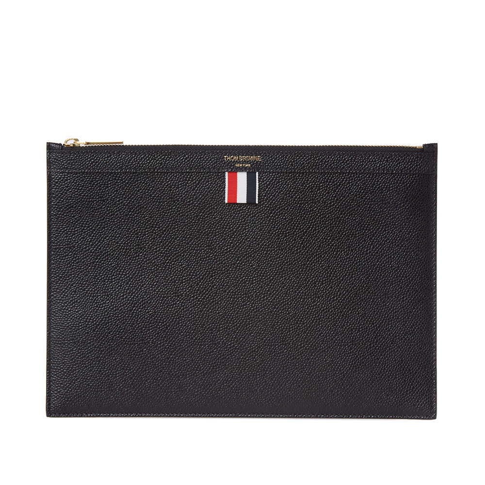 Thom Browne Small Zip Tablet Holder - Black Pebble Grain