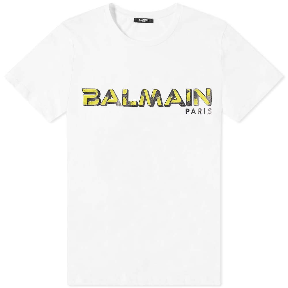 Balmain Logo Tee - White & Yellow