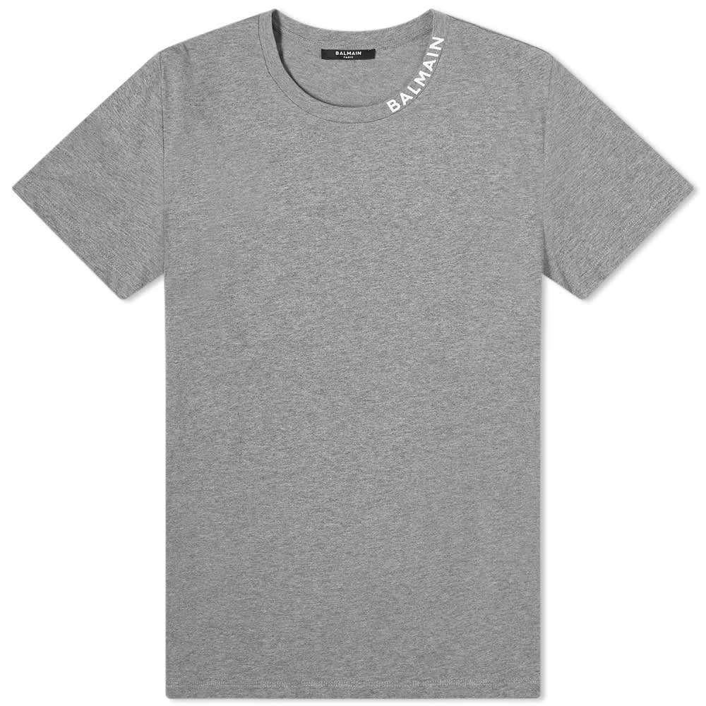 Balmain Collar Logo Tee - Grey & White
