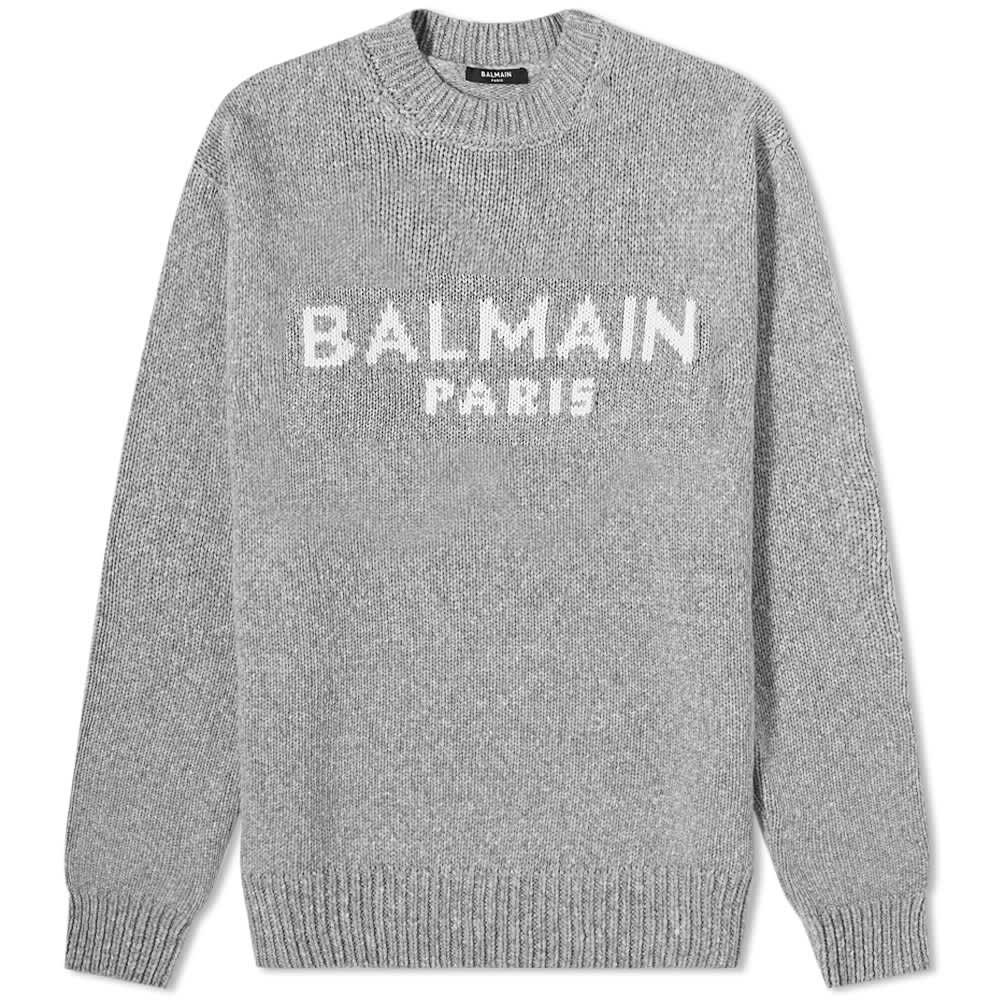 Balmain Merino Logo Knit Crew - Grey & White
