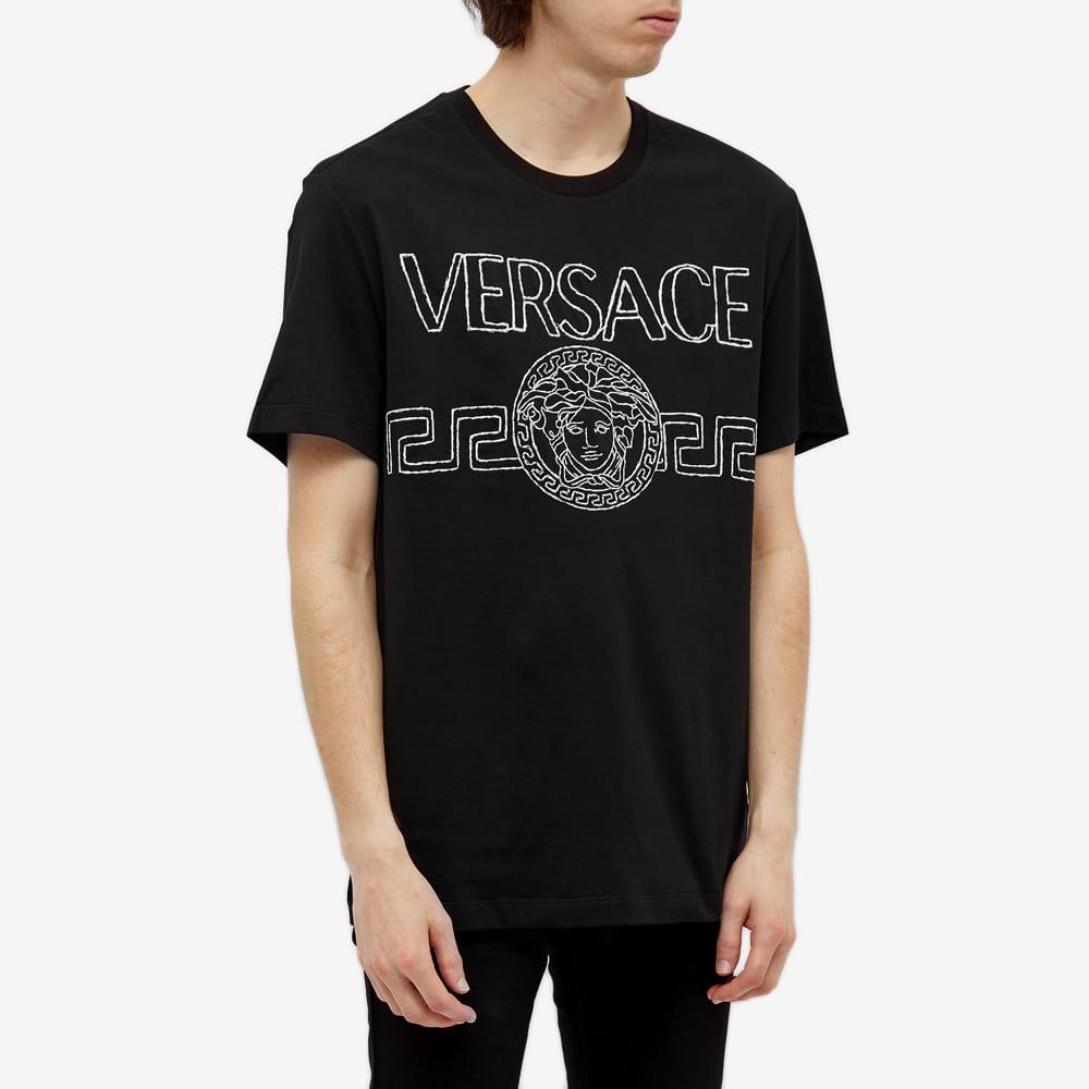 Versace Embellished Logo Tee - Black & Silver