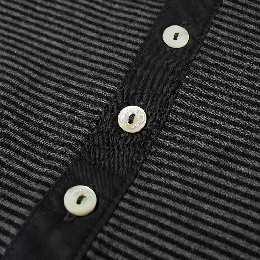 Schiesser Karl-Heinz Long Sleeve Stripe Henley - Anthracite Marl