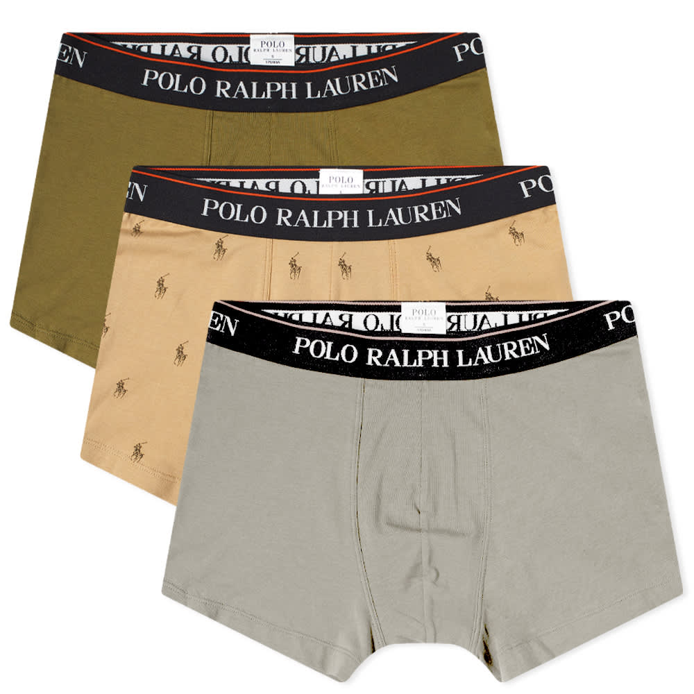 Polo Ralph Lauren Cotton Trunk - 3 Pack - Olive, Tan & Grey